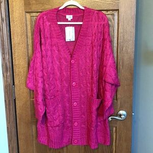 Lularoe 🦄  Berry Pink Lucille Cable Cardigan NWT
